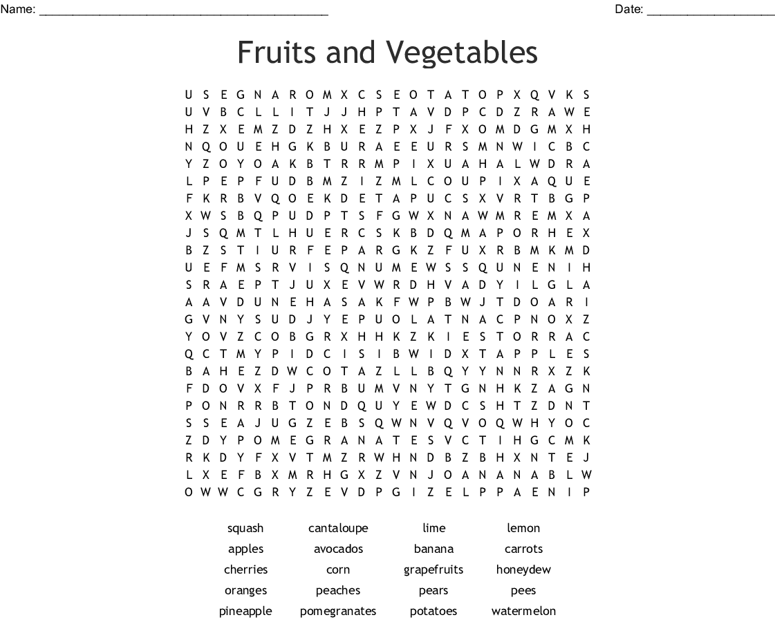 Fruits And Vegetables Word Search