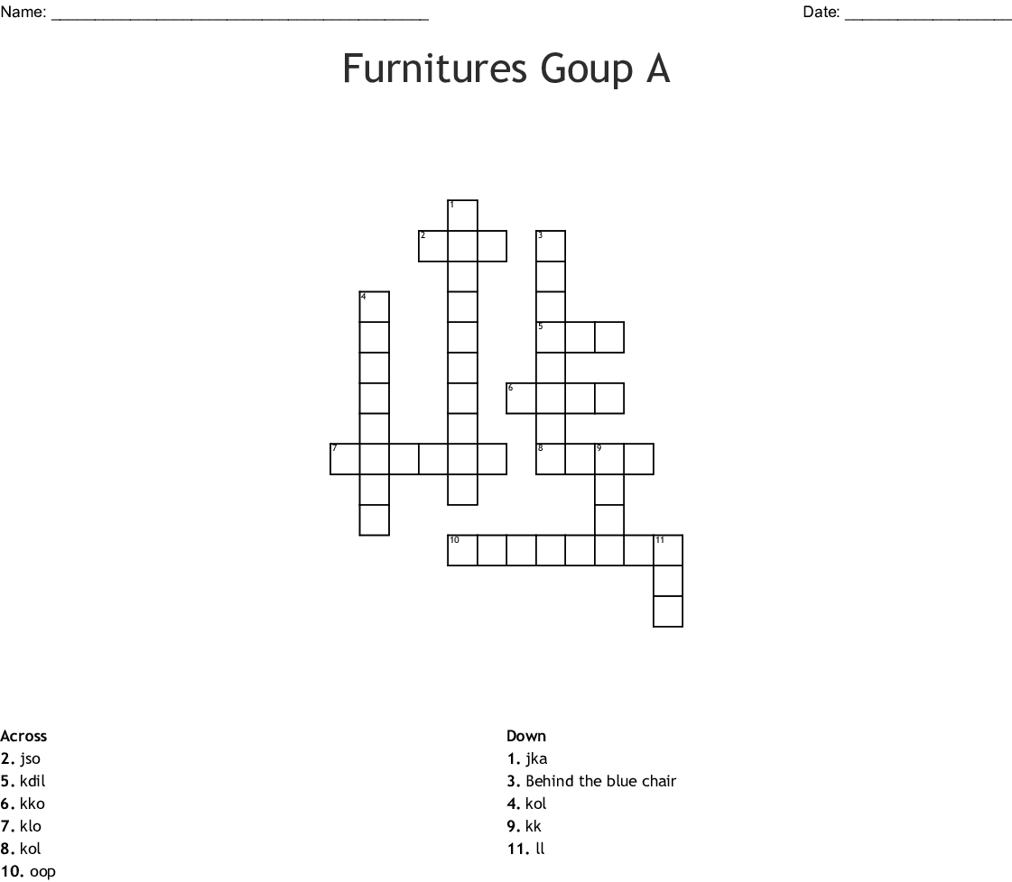 Furnitures Goup A Crossword