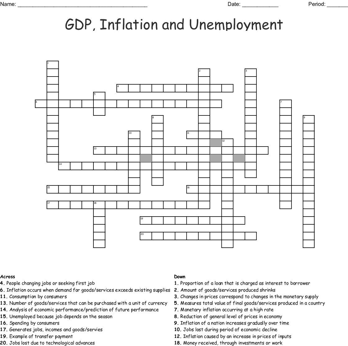 Similar To Unemployment And Inflation Crossword