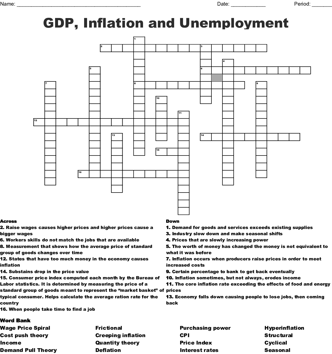 Gdp Inflation And Unemployment Crossword