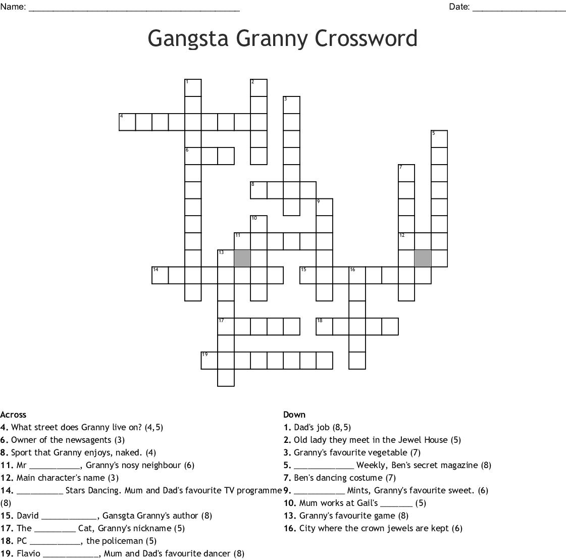 Mr Stink Crossword