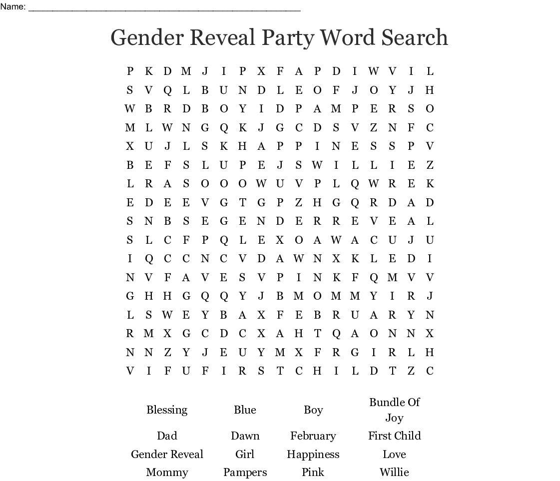 Gender Reveal Party Word Search