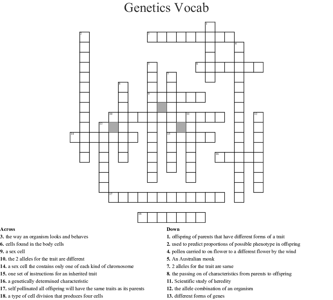 Genetics Vocabulary Crossword Answer Key