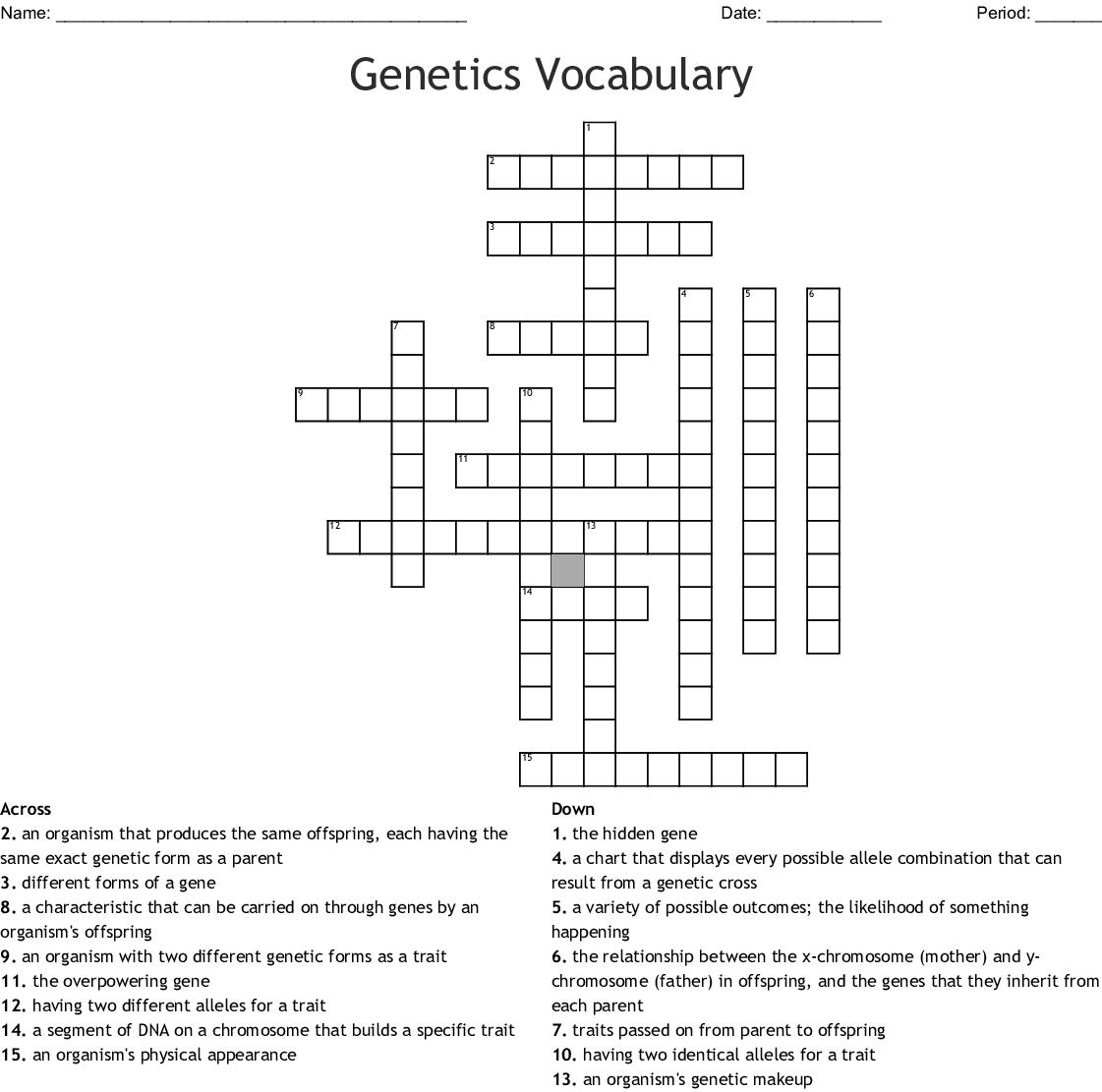 Genetics Vocabulary Worksheet Crossword Answer Key