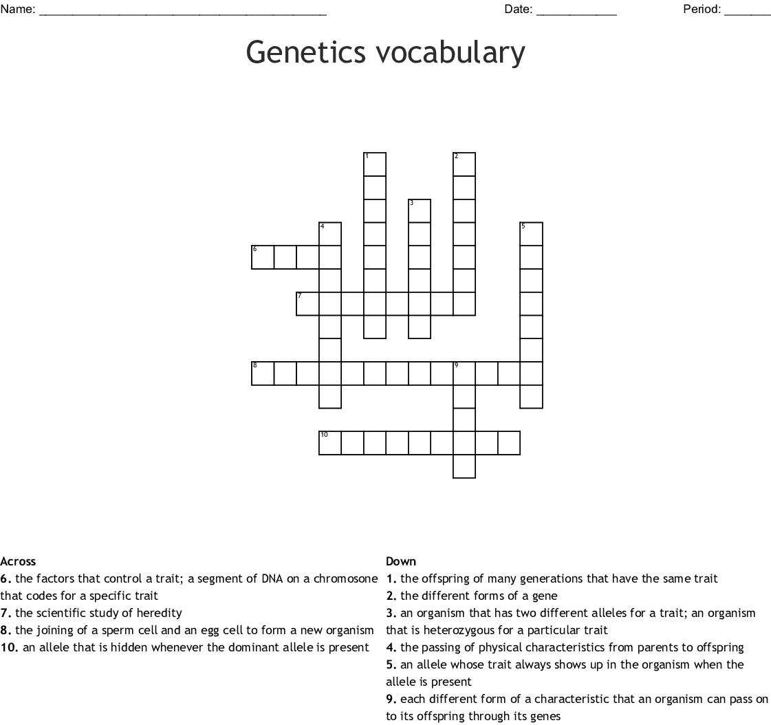 Genetics Vocabulary Crossword