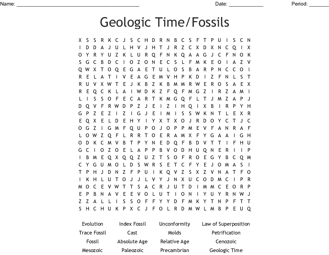 Geologic Time Fossils Word Search
