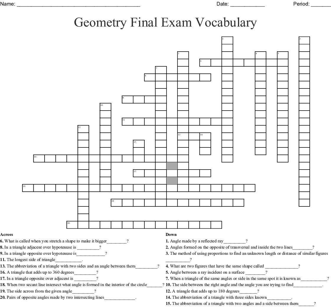 Geometry Final Exam Vocabulary Crossword