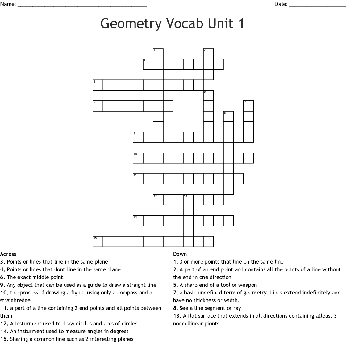 Geometry Vocab Unit 1 Crossword