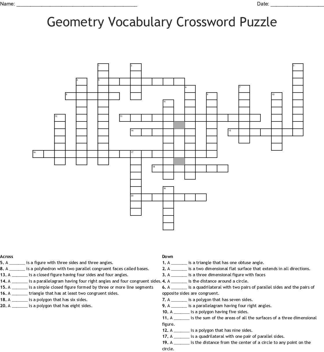 Perimeter And Area Crossword