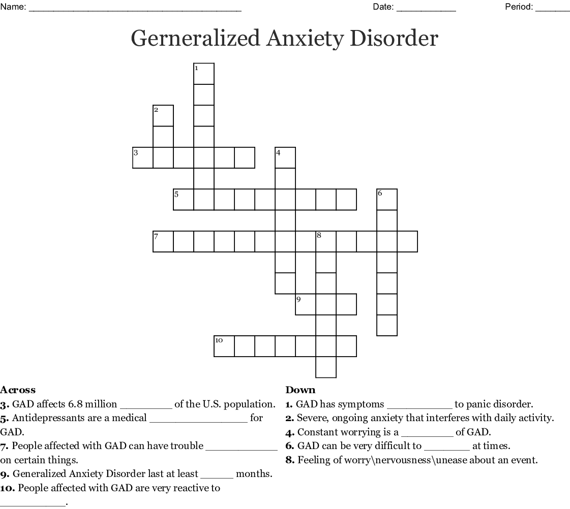 Crossword Anxiety Disorders Answer Key