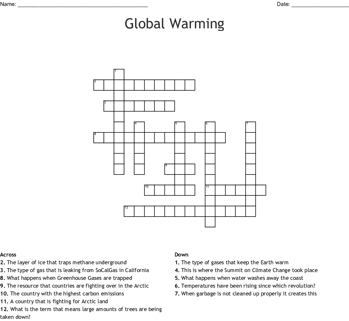 Global Warming Crossword