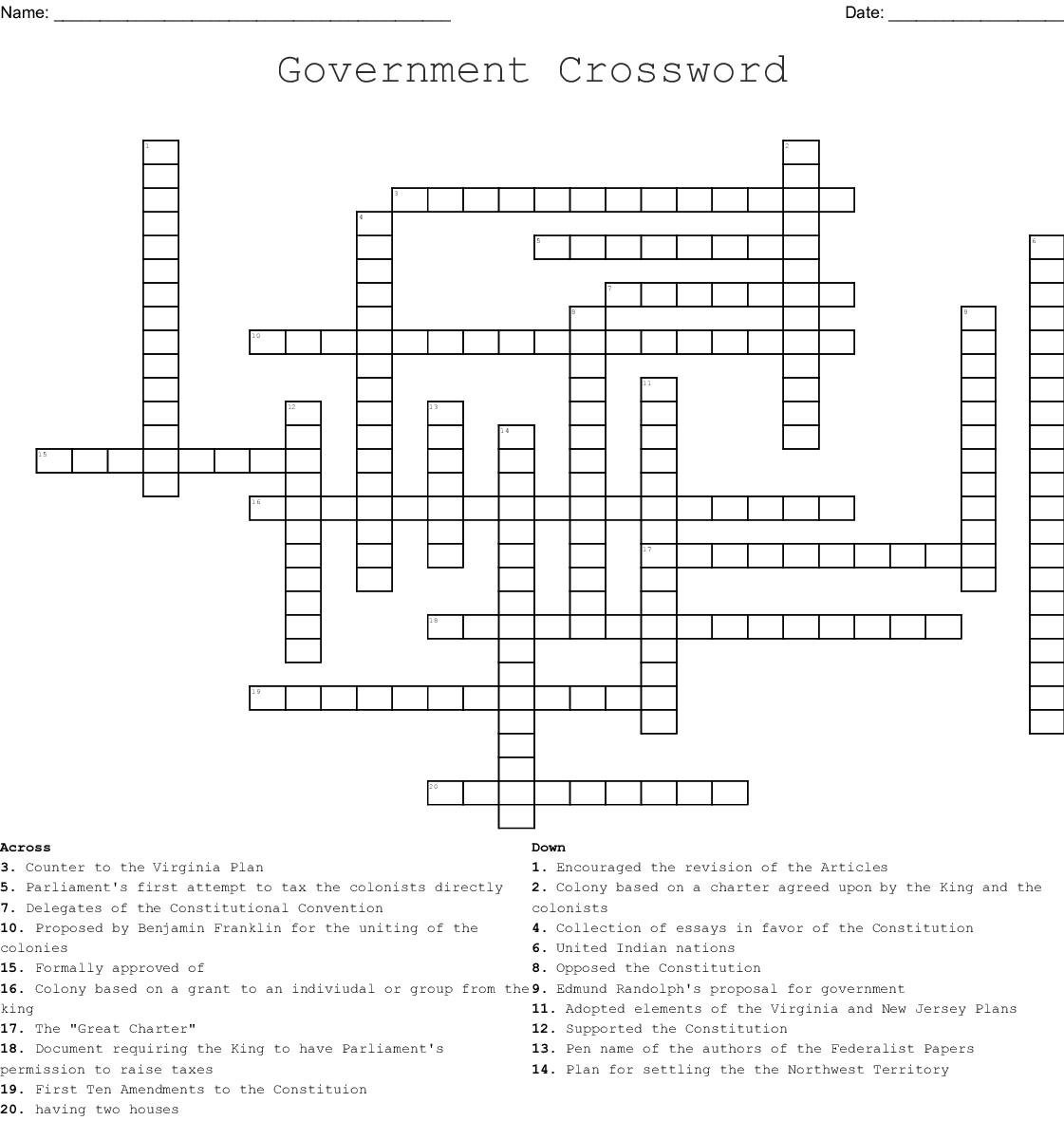 Origins Of American Government Crossword