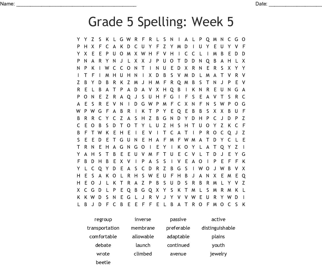Grade 5 Spelling Week 5 Word Search