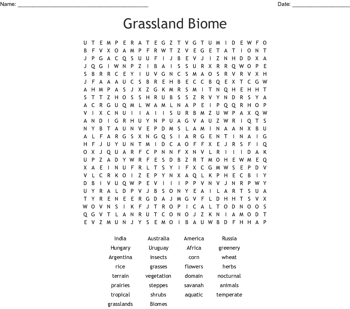 Tropical Rainforest Biome Word Search