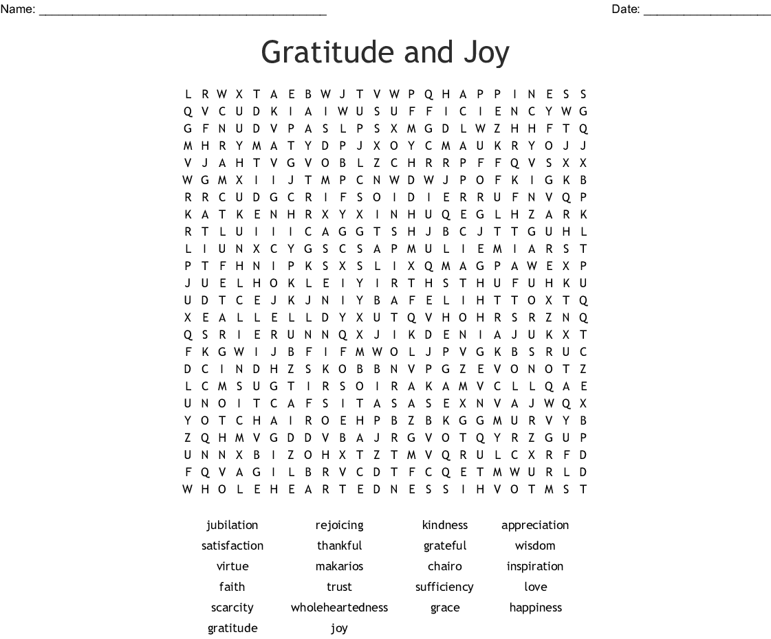 Gratitude And Joy Word Search