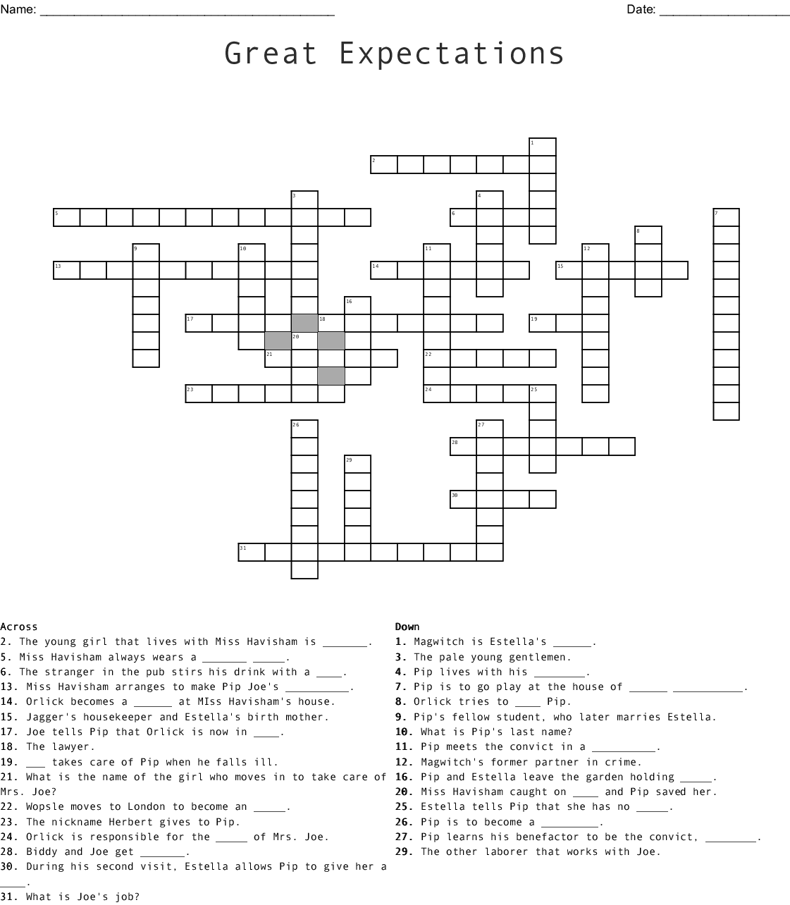 Great Expectations Word Search