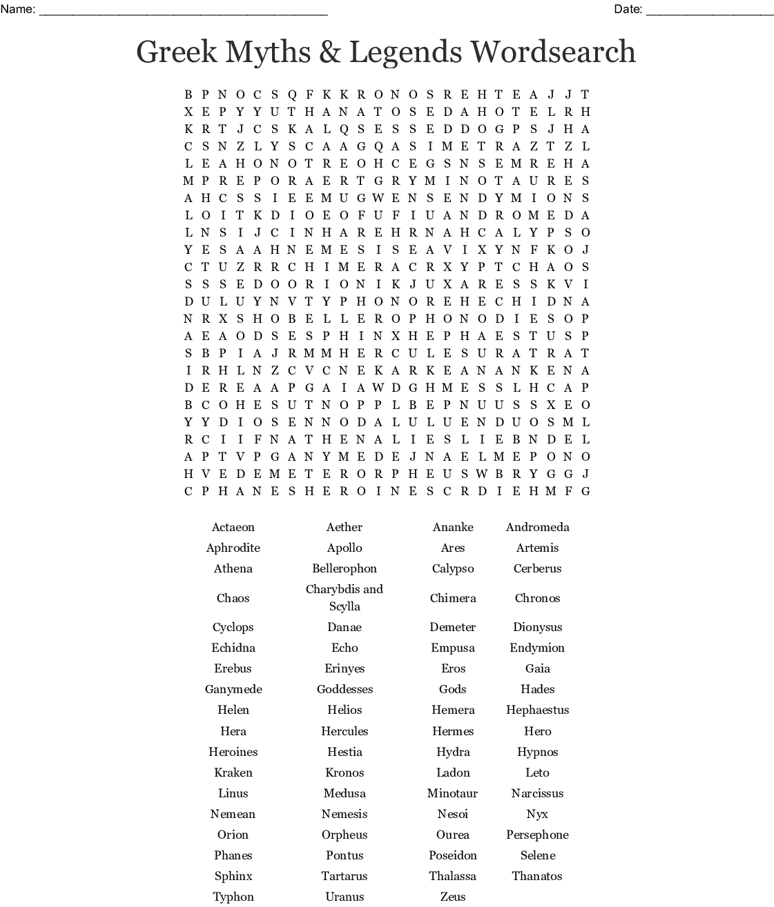 Mythical Creatures Word Search
