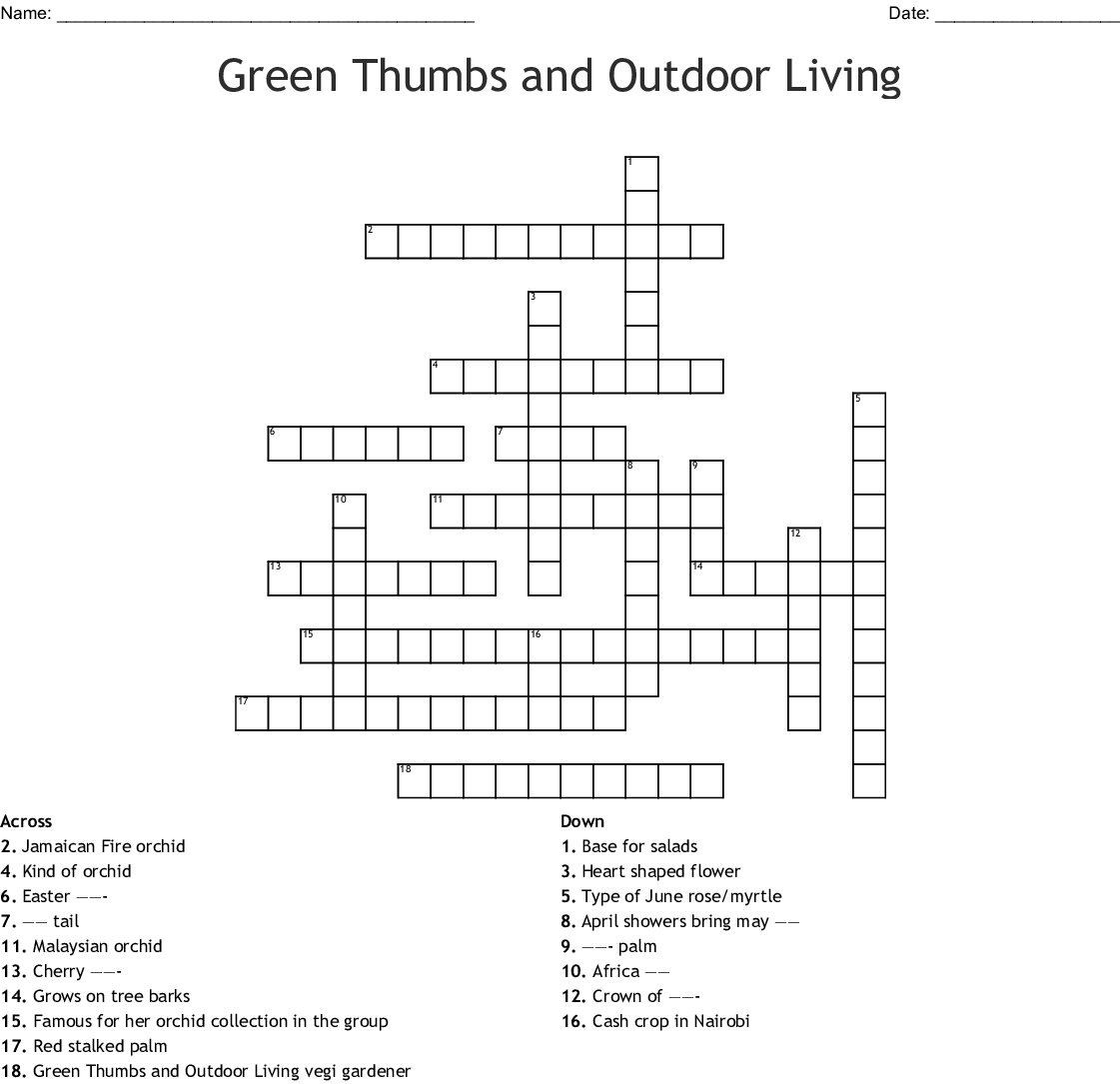 Green Thumbs And Outdoor Living Crossword