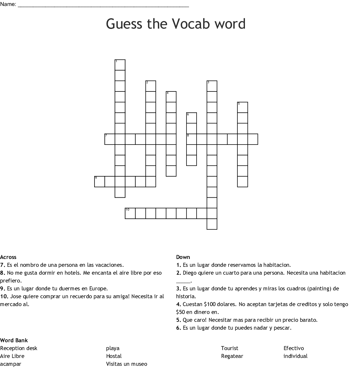 Guess The Vocab Word Crossword