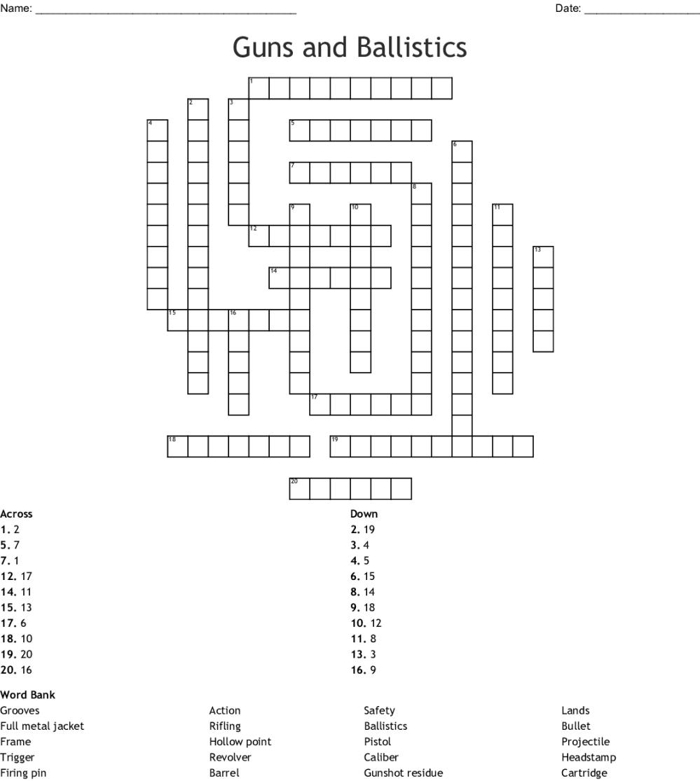 medium resolution of guns and ballistics crossword