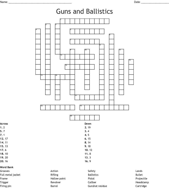 hight resolution of guns and ballistics crossword