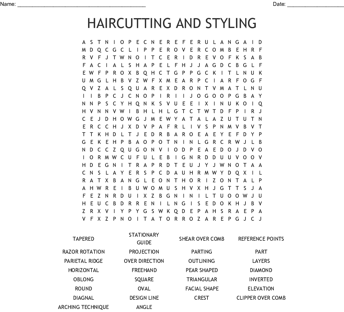 Barber Word Search