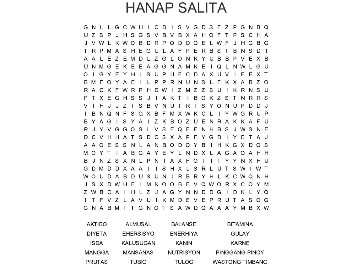 Hanap Salita Word Search