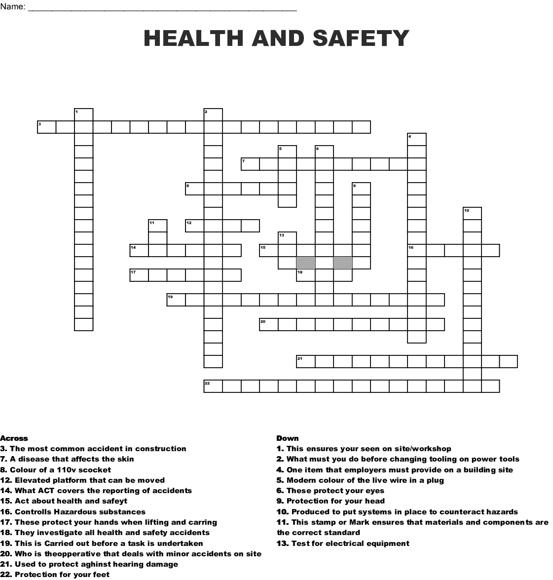 Safety Crossword Puzzles