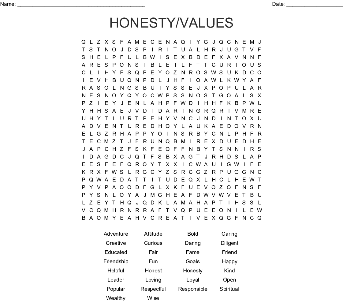 Honesty Values Word Search