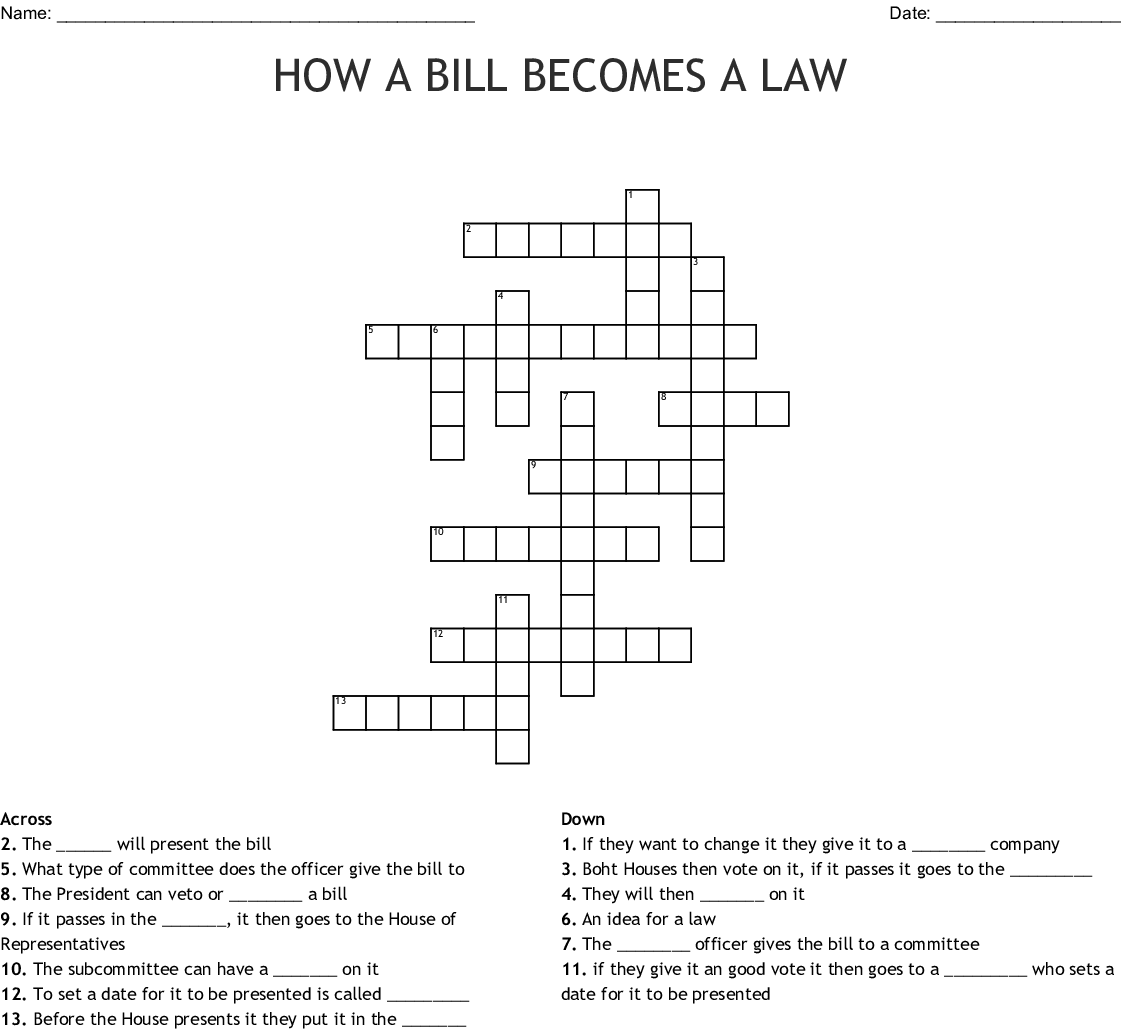 How A Bill Becomes A Law Word Search