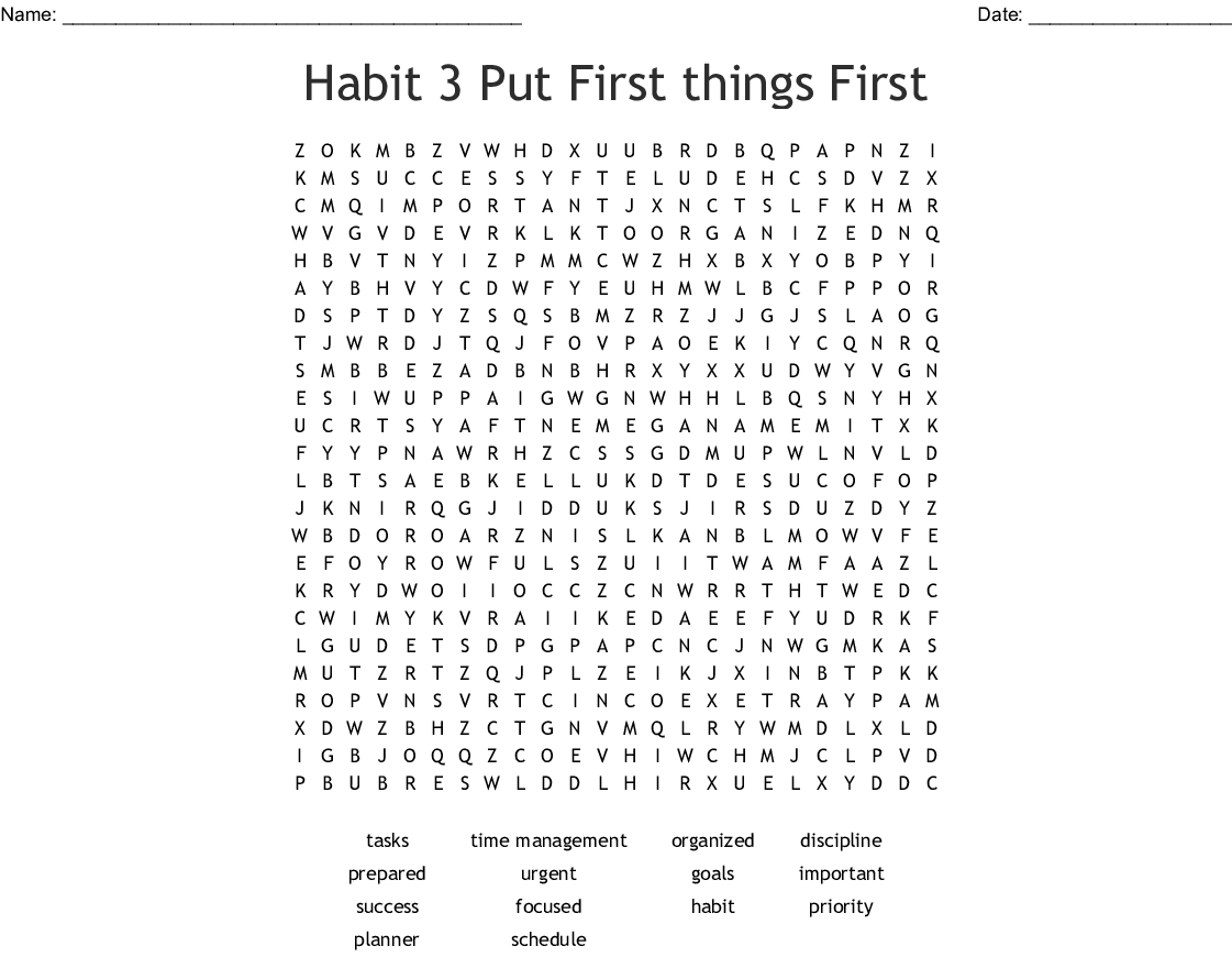 Habit 3 Put First Things First Word Search
