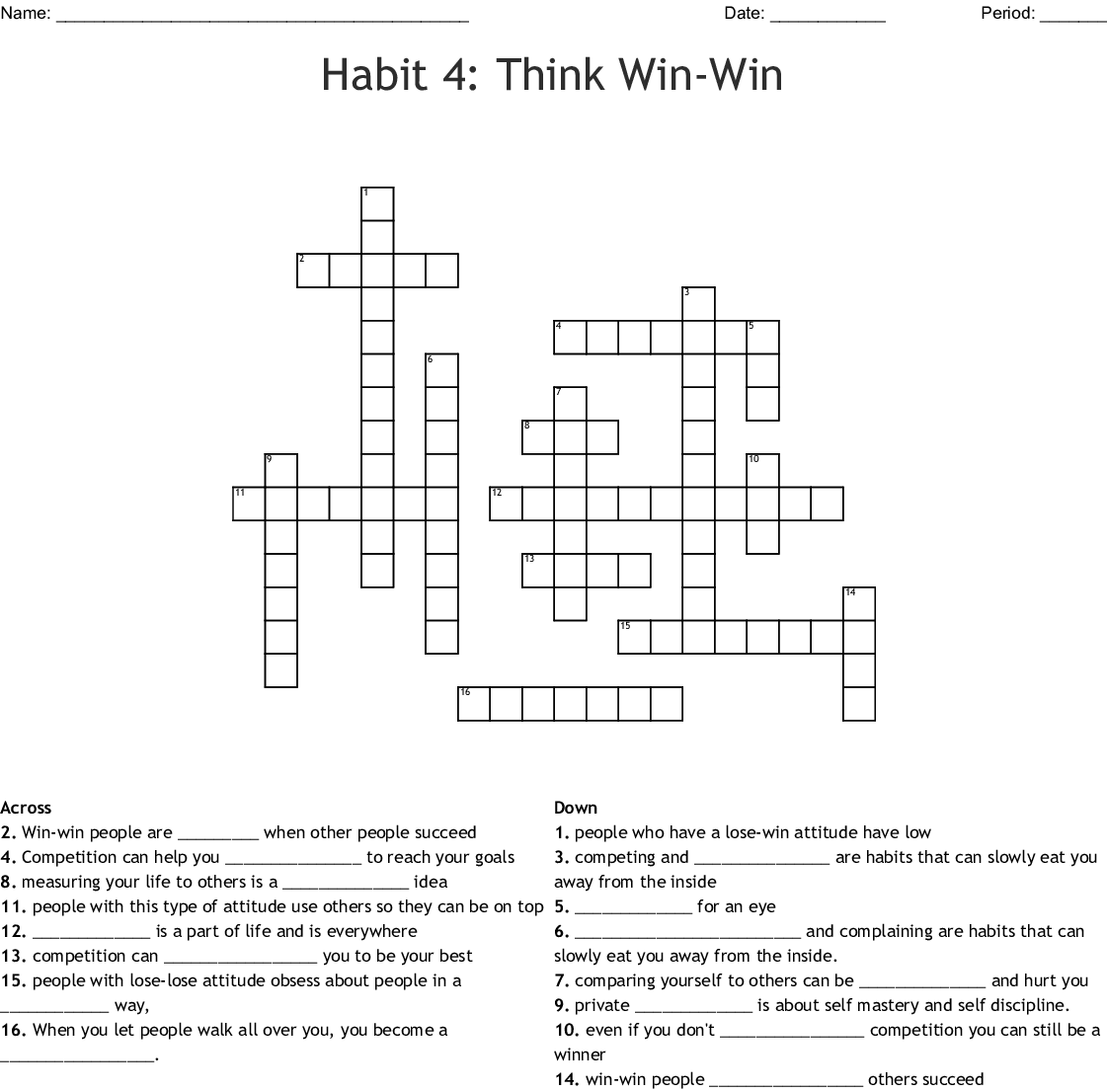 7 Habits Crossword