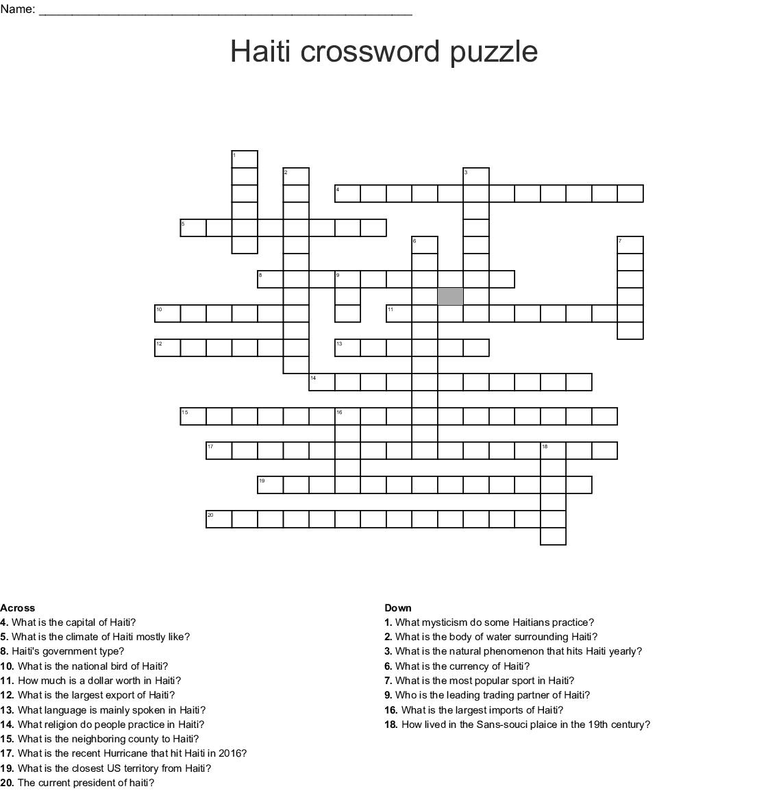 Haiti Crossword Puzzle