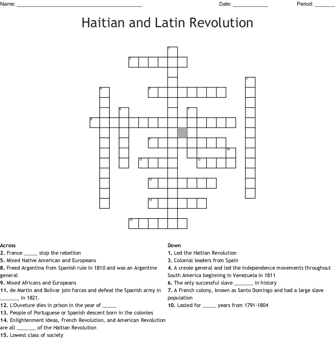 Latin American Revolution Crossword Puzzle