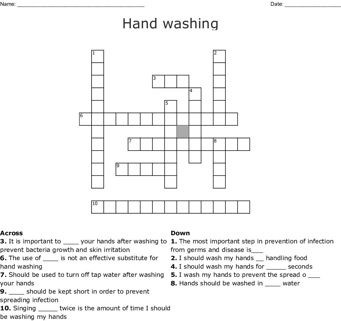 Hand Washing Crossword