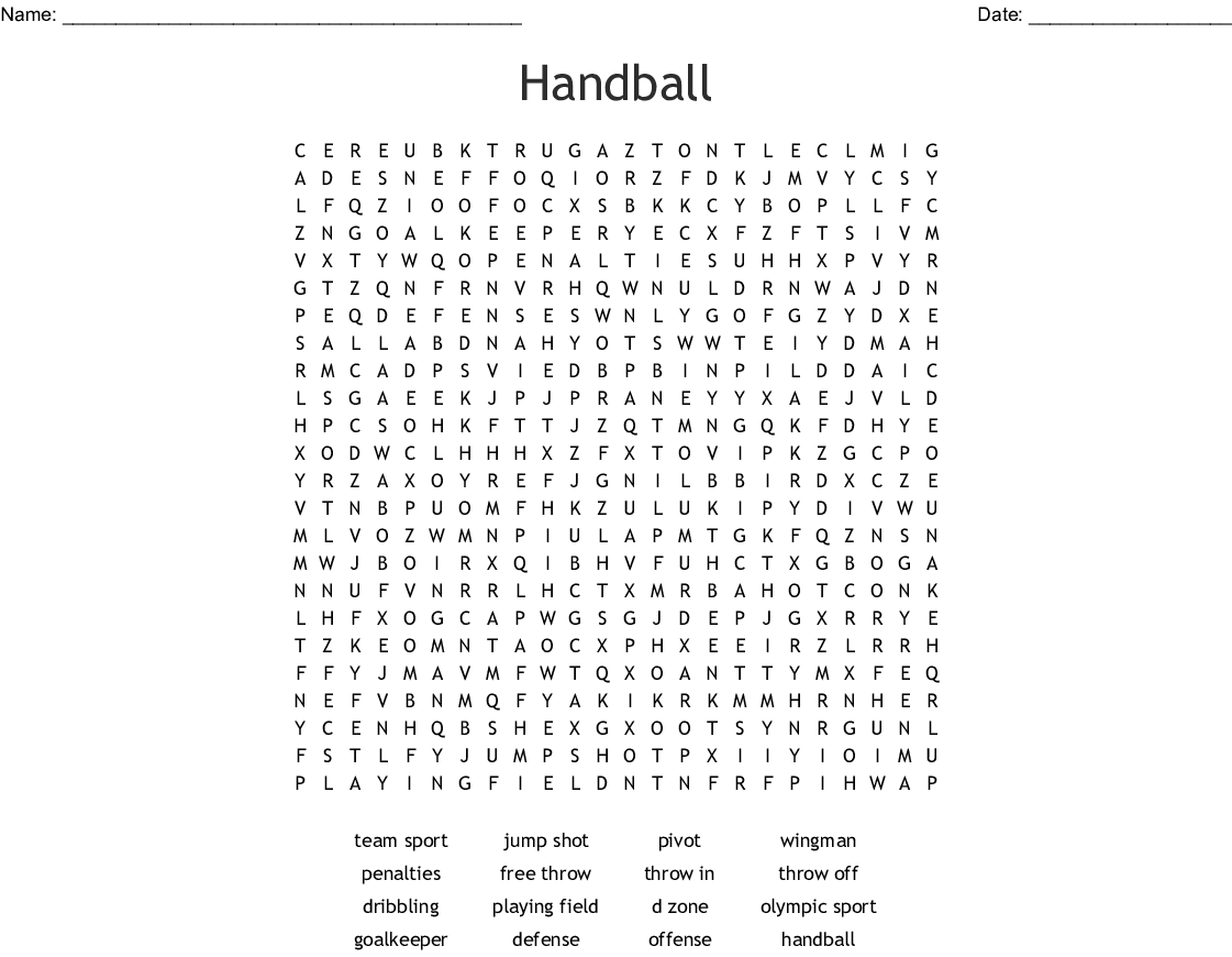 Track And Field Word Search