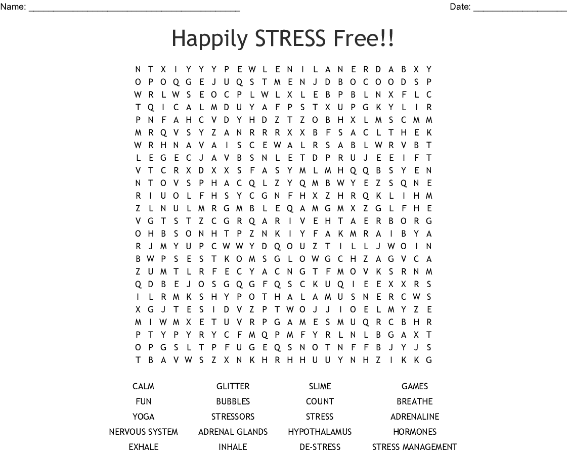 Happily Stress Free Word Search