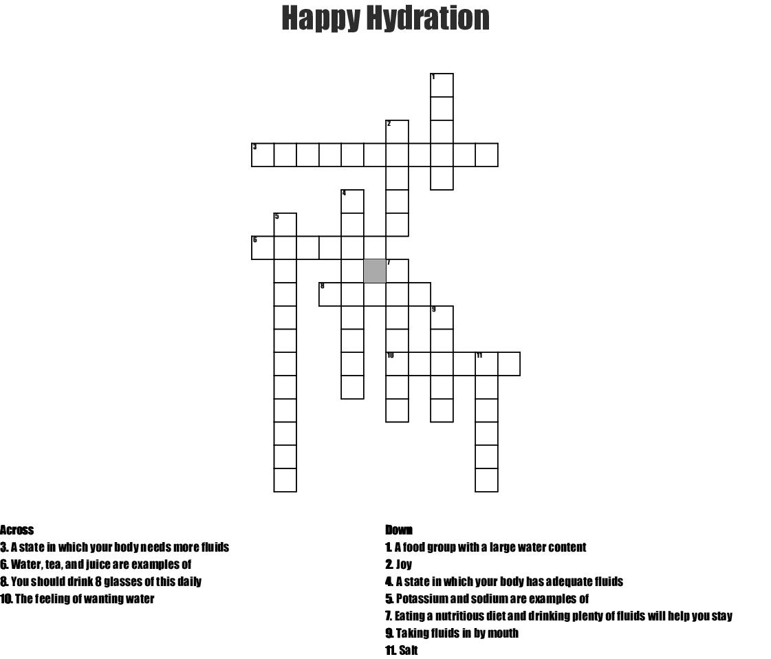 Happy Hydration Crossword