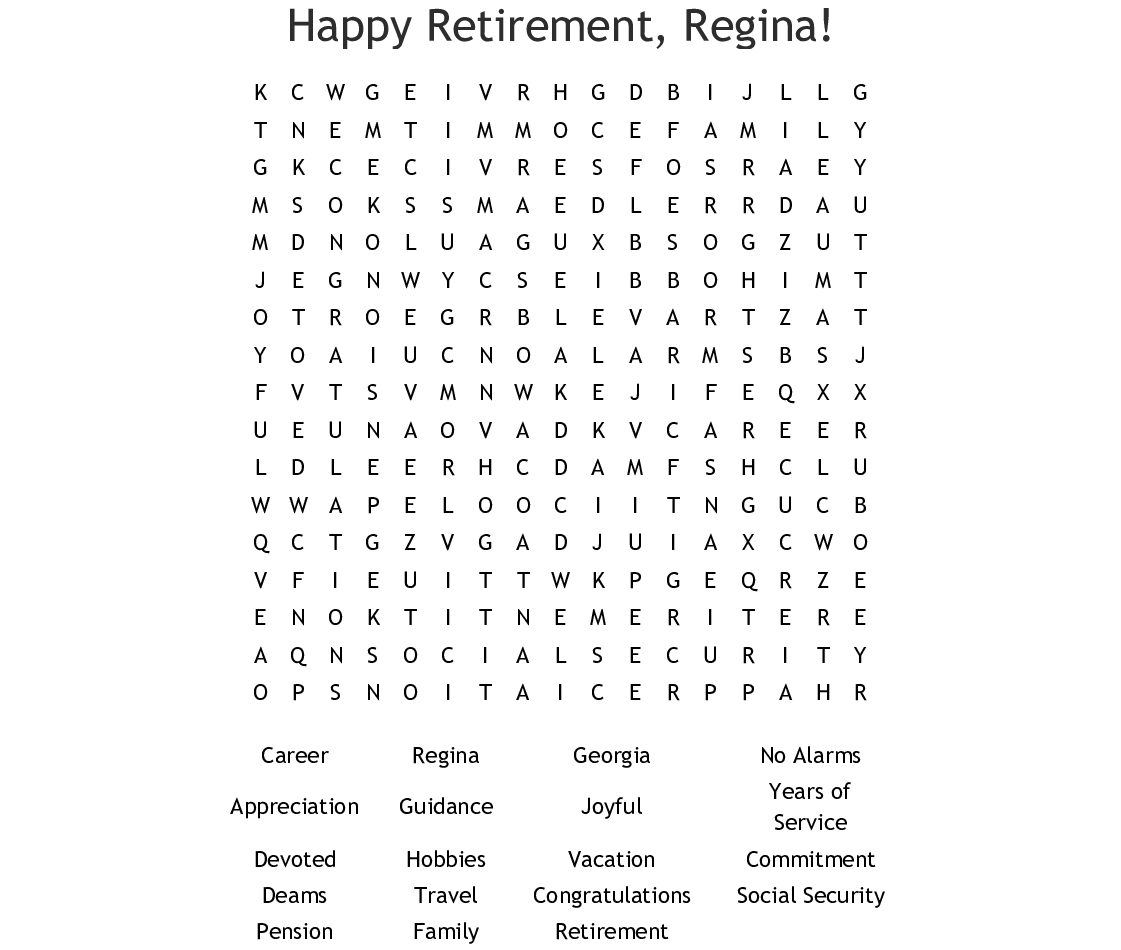 Happy Retirement Word Search