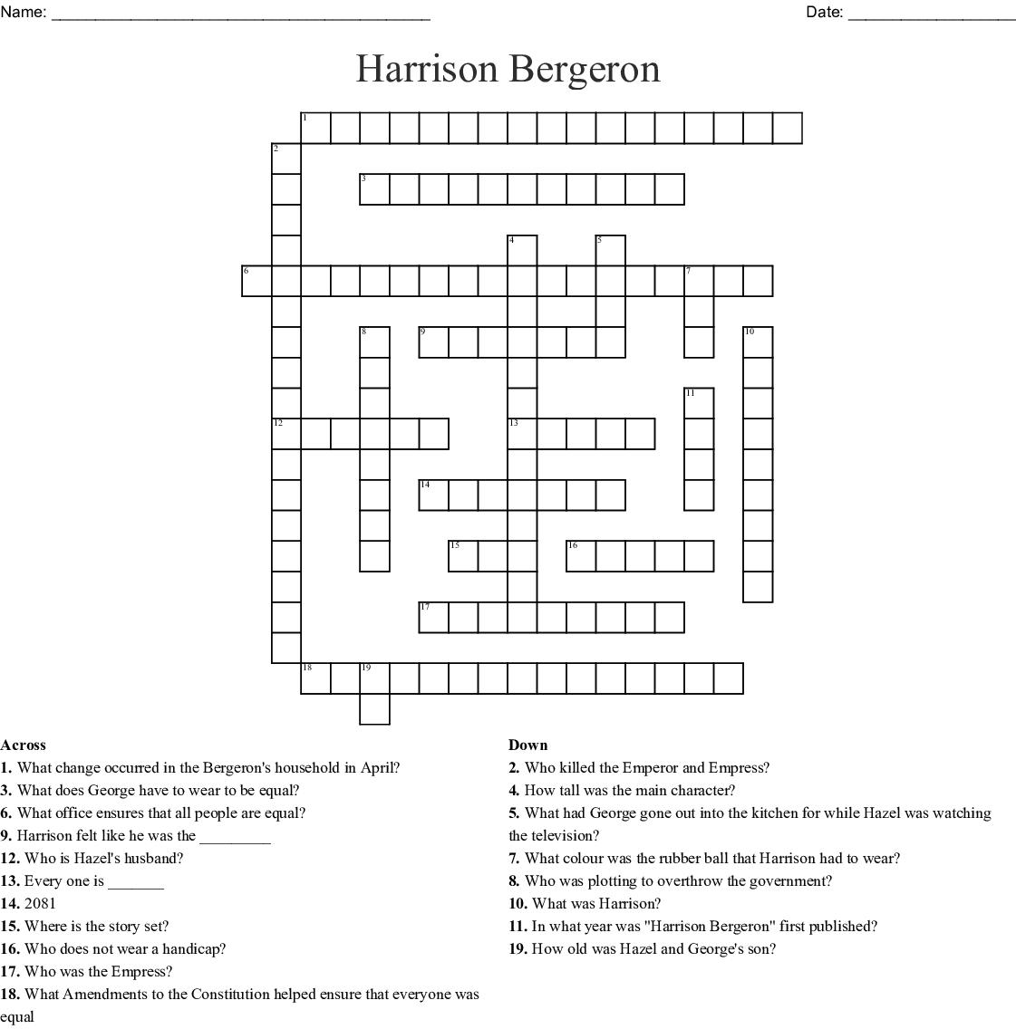 Harrison Bergeron Crossword