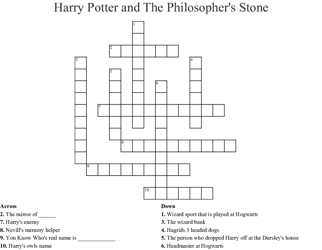 Harry Potter And The Philosopher S Stone Crossword