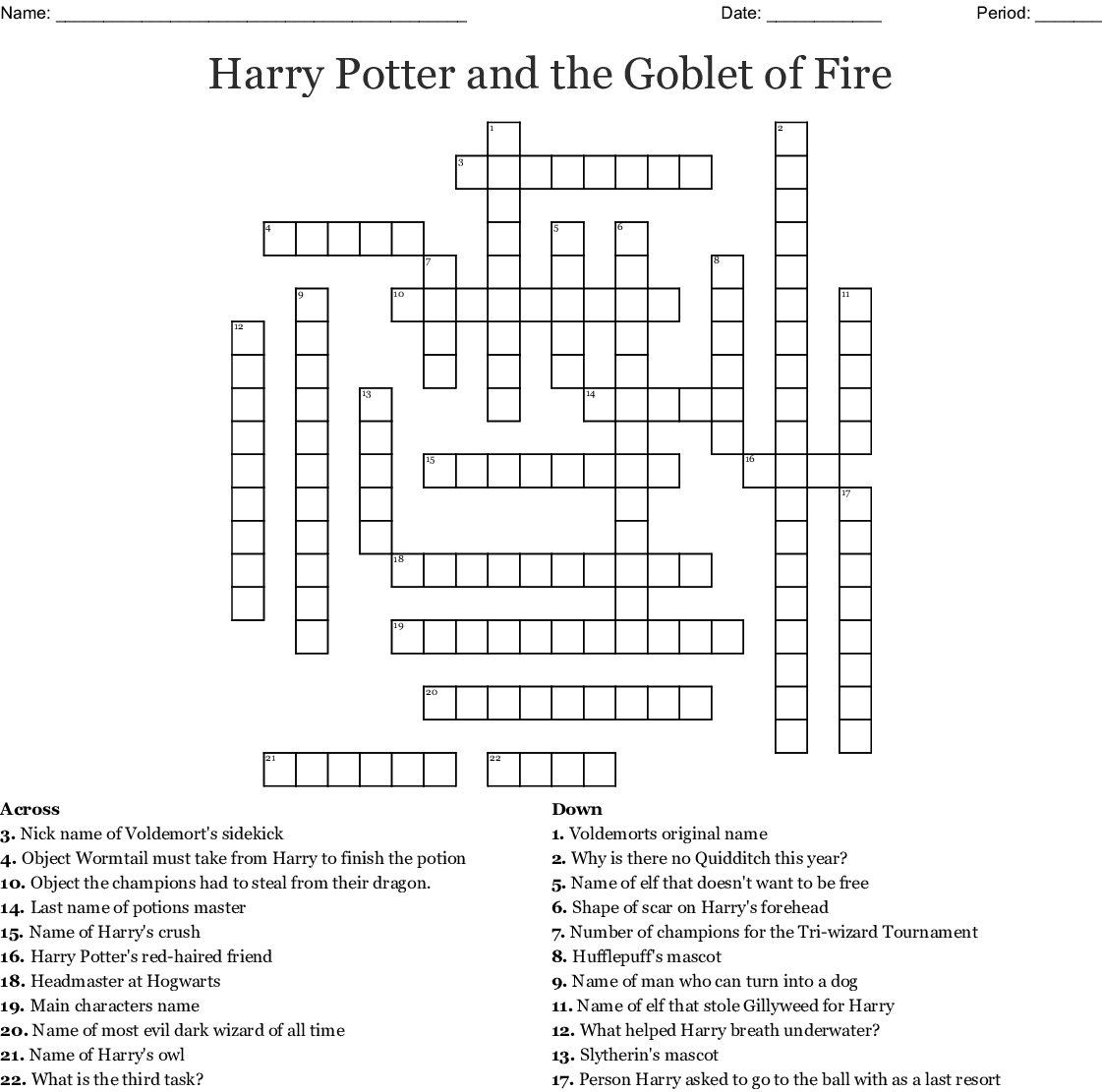 Harry Potter And The Goblet Of Fire Crossword