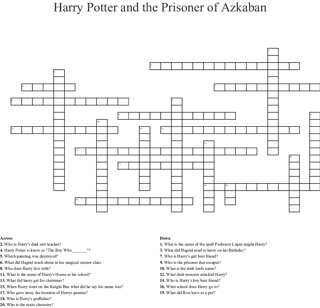 Priceless Harry Potter Crossword Puzzle Printable