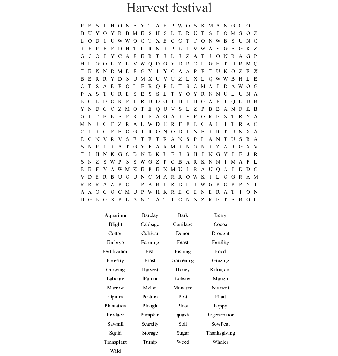 Harvest Festival Word Search