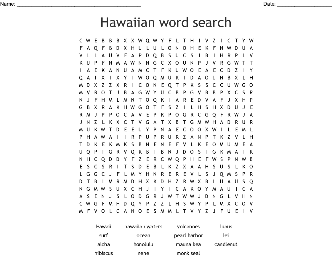 High Tide In Hawaii Word Search