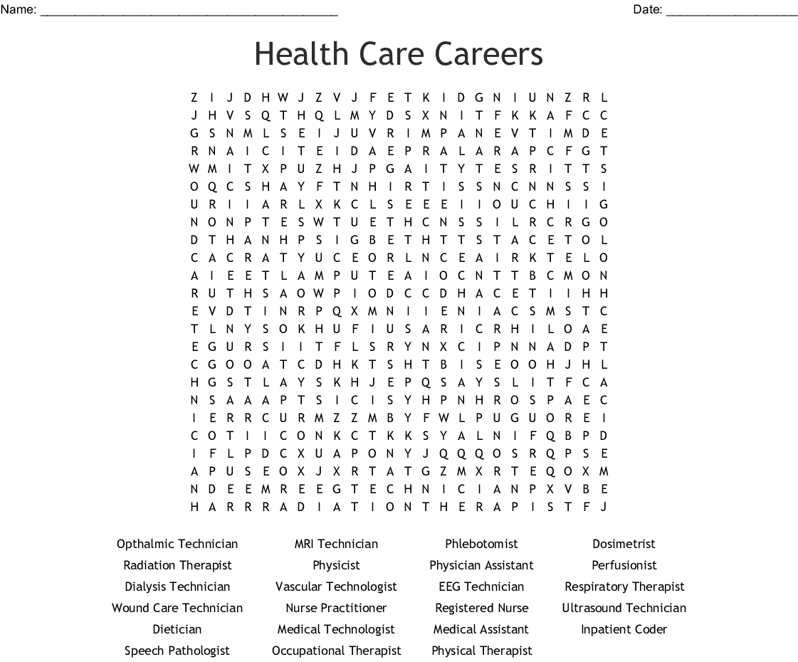 Medical Careers Wordsearch