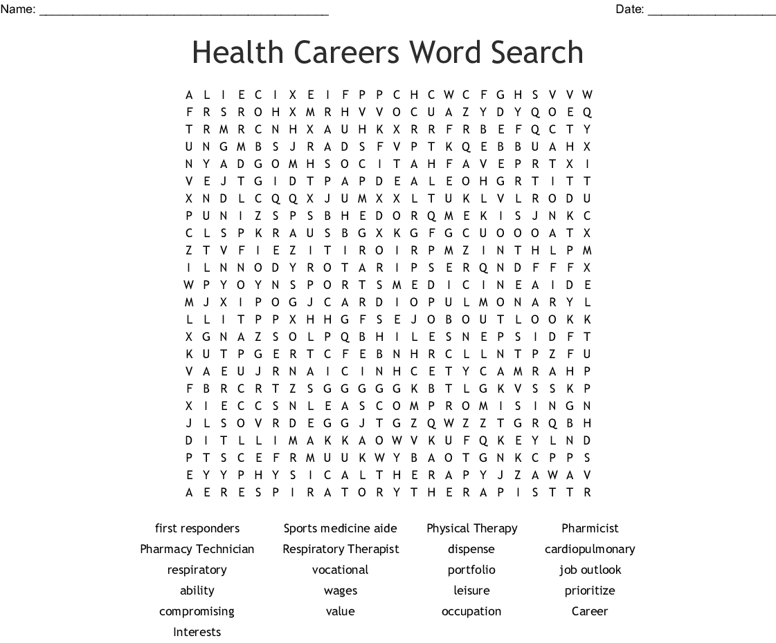 Physical Therapy Word Search