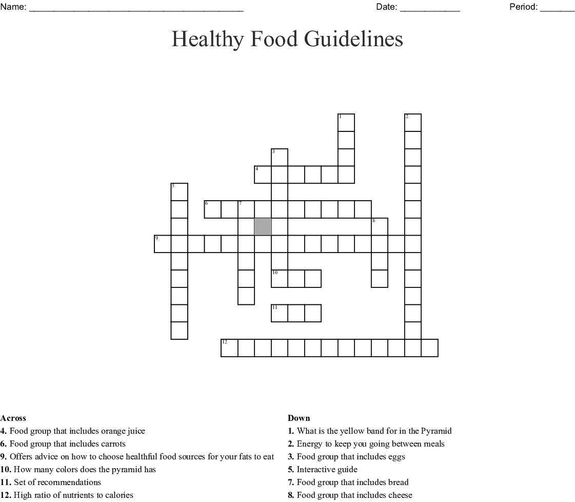 Healthy Food Guidelines Crossword