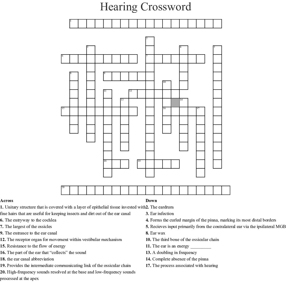 Hearing Crossword