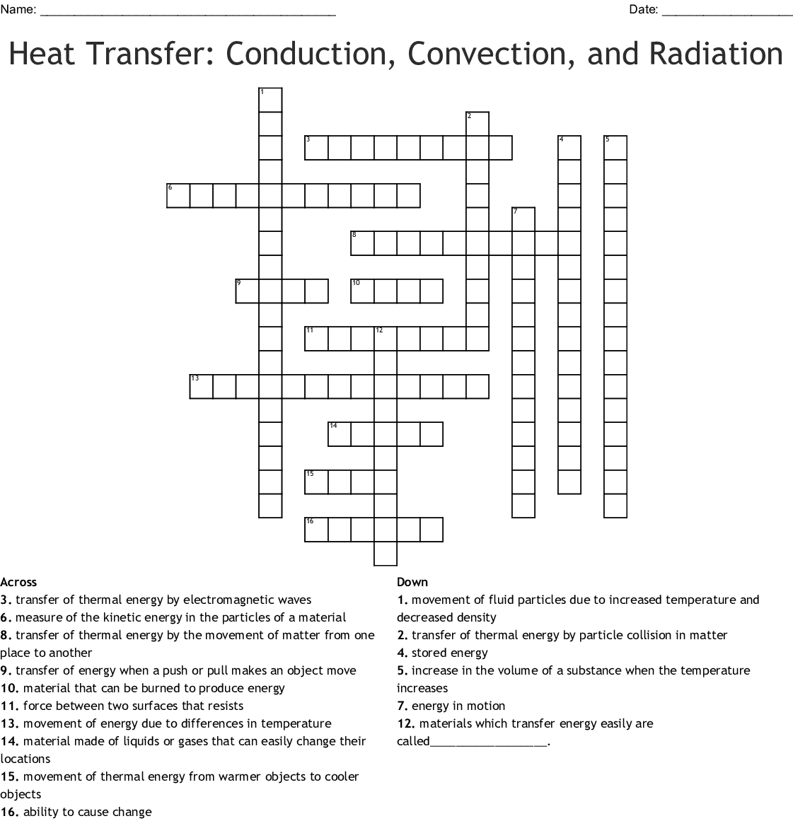 Conduction Convection Radiation Worksheet Answers